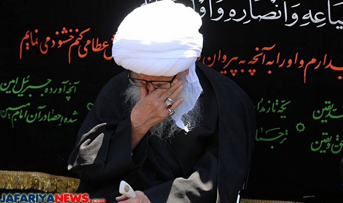 Ayatullah Wahid Khorasani during mourning ceremony of Imam Jafar Sadiq (as)