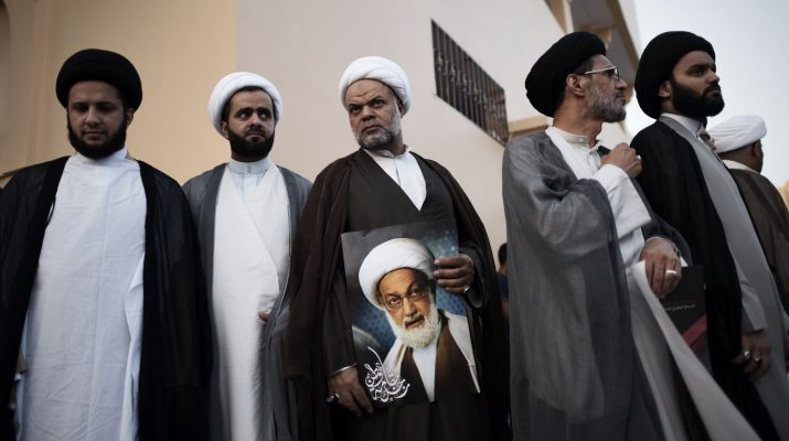 Bahraini Shiite clerics attend a protest against the revocation of the citizenship of Bahrain's leading Shiite cleric, Sheikh Isa Qassim